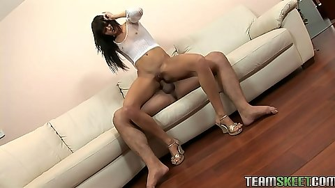 Reverse cowgirl small tits brunette Dolly Darkley gets cock in