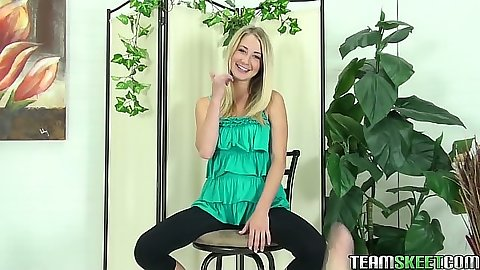 Petite teen Casi James posing on stool stripping solo