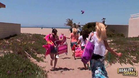 Lesbians Lynn Love and JC Simpson and Kandi Milan go to the beach