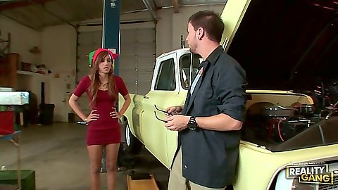 Latina Melanie Rios in the garage
