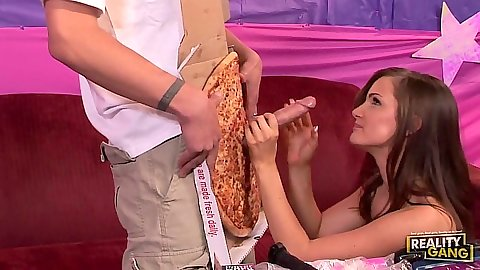 Blowjob with Lily Carter through ap izza