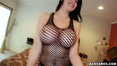 Fishnet tits handing out with Eva Karera going for handjob