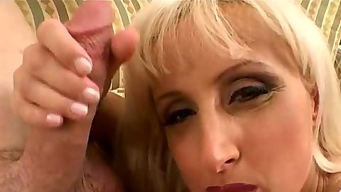 Blonde Mina jerking and sucking cock