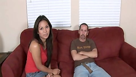 Sexy small tits Lana Violet cfnm blowjob and on her knees