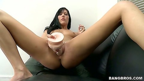 Jade spreading her legs and dildo insertion