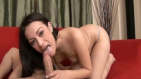 Blowjob from brunette small tits Rachel Milan