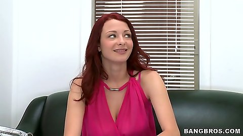 Redhead Jessica Rabbit in her back room interview