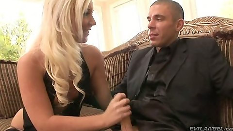 Blonde Holly Fox handjob half dressed
