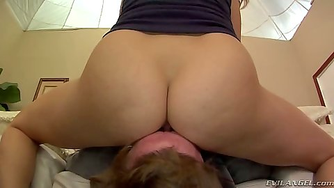 Femdom college slut Holly Michaels  sits on old mans face