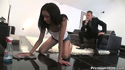 Latina sd doing office chores