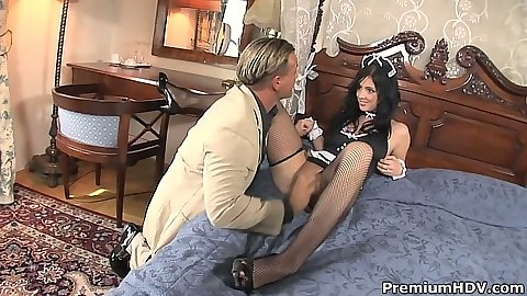 Sexy maid in lingerie uniform Stracy Stone blowjob