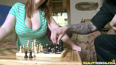 Big natural tits Felicia Clover playing some chess for sex
