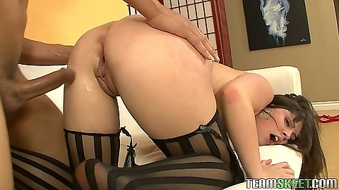 Rear entry doggy for small tits brunette Amber Sky
