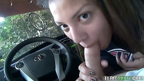 Indica Reign pov blowjob in the car