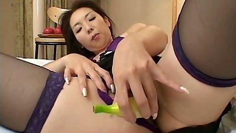 Sexy toy asian masturbation into hairy pussy