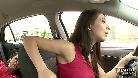 Teen Allie Jordan going for a rive and sucking dick
