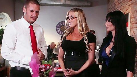 Office milf hottie Diana Prince in black dress
