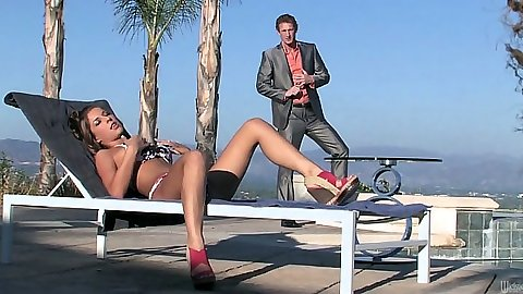 Outdoor tanning girl Presley Hart in bikini then sits on mans face