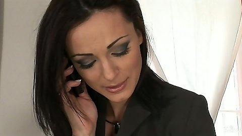 Brunette milf Cameron Cruise taking a phone call
