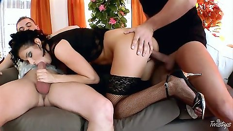 Doggy style euro threesome fuck from Pamela Sweet with anal