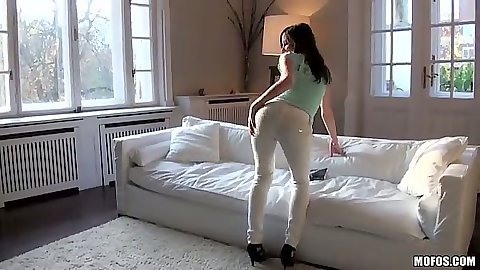 Striptease in hot white pants Candy Sweet