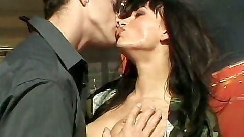 Kissing and making out with Gili Sky outdoors