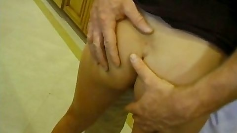 Touching nice tanline ass Illana Moore in kitchen