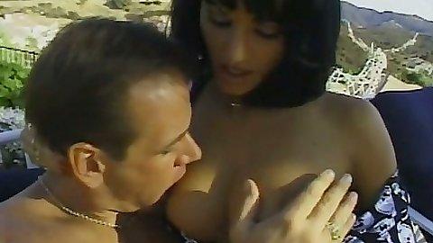 Natural tits Illana Moore fucking around outdoors