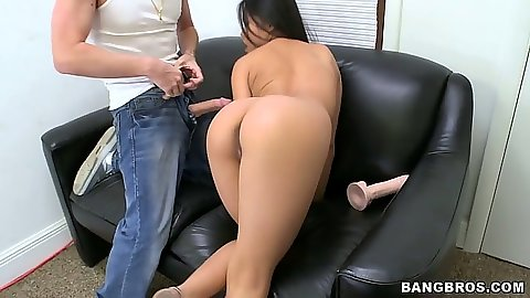 Asian petite slut Cindy Starfall sucking wet cock in cum dripping blowjob