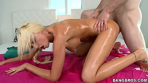 Big tits oil doggy style fuck with athletic Rikki Six