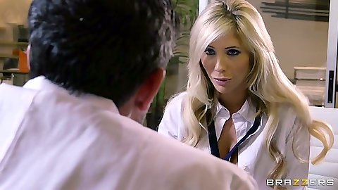 Blonde doctor slut Tasha Reign sucks patient