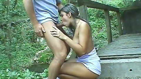 Blowjob in great forest outdoors with Petra Noir
