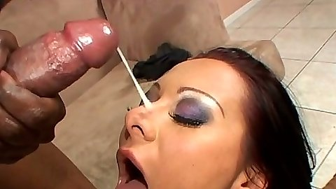 Slut gets cumshot on her nose and anal milk squirting