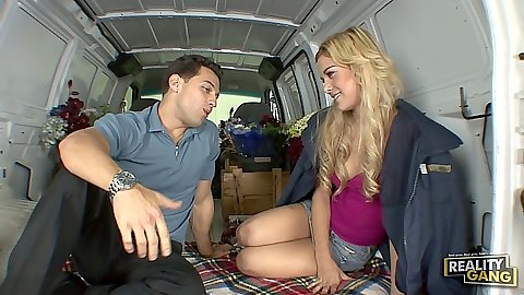 Backseat picked up teen Misti Love making out and she sucks id down