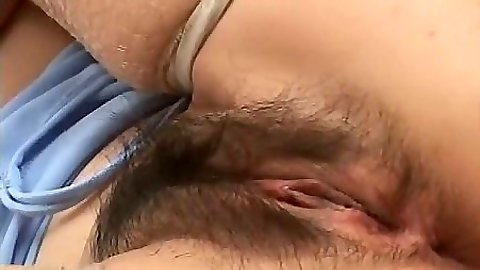 Nice hairy asian pussy spreading for cock entry