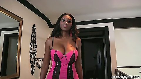 Ebony Naomi Banxxx in sexy tight lingerie showing big round ass