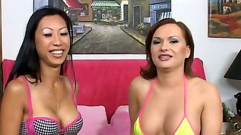 Katja & Tia in cute bikinis giving pov handjob