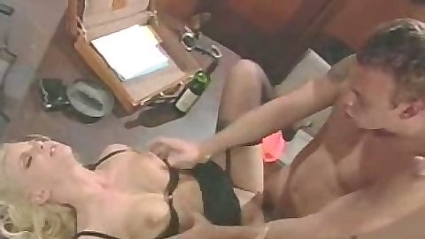 Pumping natural tits Hanna Harper on office desk after hours
