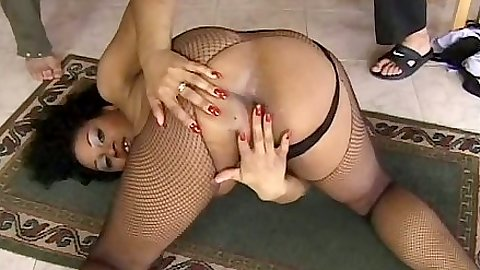 Self ass touching with ebony girl sucking two cocks in threesome