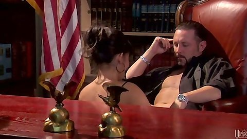 Office brunette blowjob and table fuck with Carmen Hart