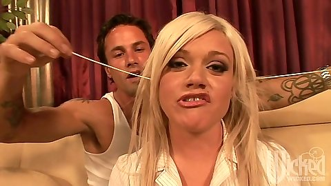 Blonde school girl Chase Taylor gets fingered and licked up her bra and panties