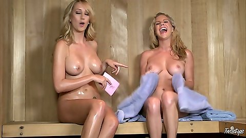 Sauna sex lesbian girls Brett Rossi and Ainsley Addison with an interview naked