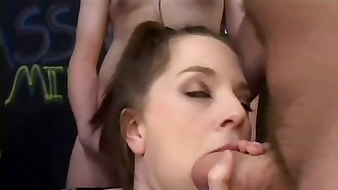 Big dick group blowjob with stuffing her face