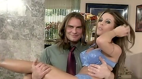 Caring Tabitha Stevens on his arms taking off her clothes