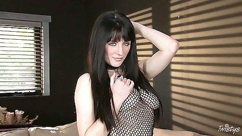 Brunette euro girl Samantha Bentley showing wet pussy lips