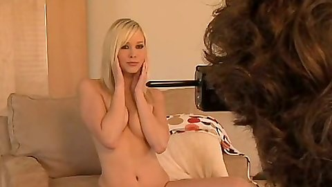 Blonde Brea Bennett in behind the scenes photo shoot