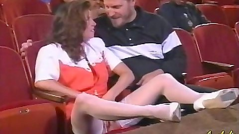 Movie theater classic porn show with blowjob from skank