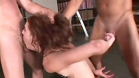 Slut Georgia Southe gets hair pulled and cum on face from two dicks