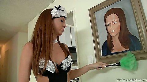 Sexy uniform maid and slut lesbian Maddy O and Francesca Le
