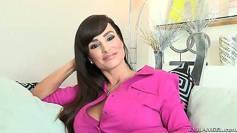 Brunette milf Lisa Ann likes to touch self and strip